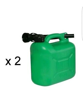 2 X 5 Litre Plastic Fuel Petrol Diesel Water Tank Jerry Can With Spout Canister