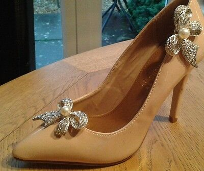 MINAS Sparkling Crystal Bow Bridal Shoe Clips