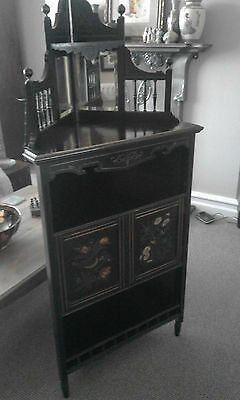 Beautiful aesthetic movement victorian hand painted ebonised cabinet cupboard