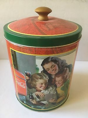 "Medium Size Coke Cookie Jar Tin 7"" Wx3-6680 Round Container"