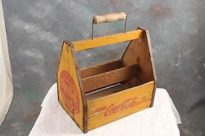 Vintage Coca Cola Carrier Wood Caddy Coke Bottle Six Bottle Holder