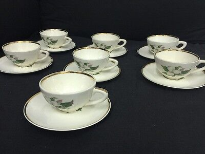 8 Vintage Cups and 7 Saucers TRILLIUM Glamour by American Limoges China Co
