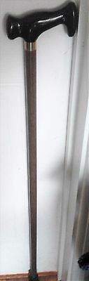 Wood Walking Stick with black Derby handle and yellow metal collar. 87cm tall