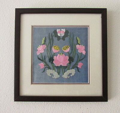 Framed Antique Art Nouveau-Japanese Embroidered Silk Fabric-Lotus Flower Design
