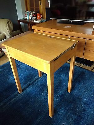 vintage wooden school desk with lifting top and ink well