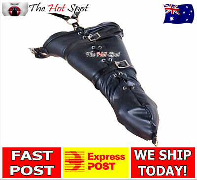 ARMBINDER Bondage BDSM Restraint Fetish Slave Arm Binder Gloves Soft PU Leather