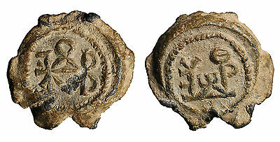 Byzantine lead seal 5th cent 6.55 gr–19,0 mm. Double block monogram#B18 arscoin