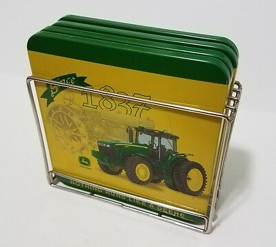John Deere Quality Farm Equipment Drink Coasters with Chrome Holder Cork  8330