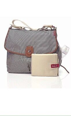 "'Babymel Changing Bag Satchel Navy Stripe with changing mat ""Prompt dispatch"""