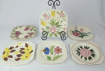 Blue Ridge Southern Potteries Square Salad Plates Set of 6 Nove Rose Bluebell