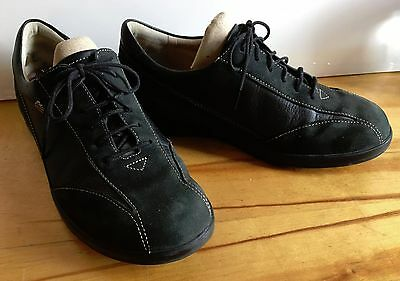 FINN COMFORT Oxford Lace Up Black Suede/Leather Shoes Size Women's US 8