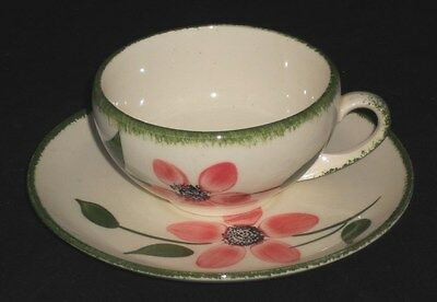 Blue Ridge Pinkie Cup and Saucer Set Pink Floral Flowers Vintage Pottery