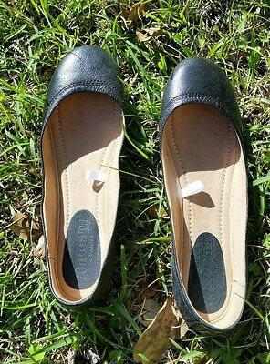 Black Leather Ballet Flats Size 8 Womens Worn Once Shoes