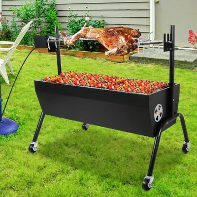 Grillz Electric Spit Roaster Large Charcoal BBQ Grill Rotisserie Barbeque Black