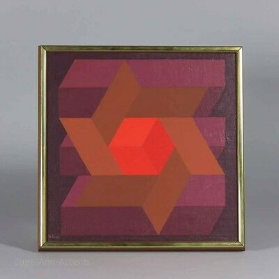 """Hannes Beckmann Signed & Dated Oil On Canvas, 1968, Color Study """"StarCube"""""""
