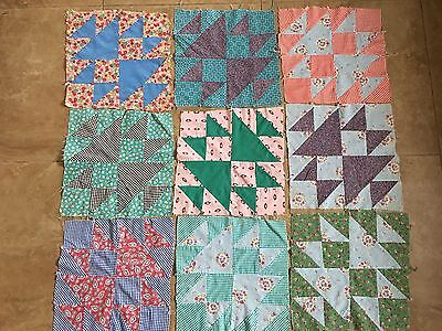 22 Vintage Patchwork Quilt Blocks - Feedsack Fabric Material - UFO Quilt