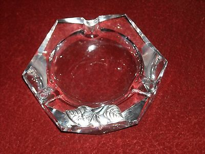 Vintage Lag Ag Crystal & Sterling Ashtray, In Original Box And Certificate
