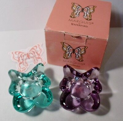 Waterford Marquis BUTTERFLY CRYSTAL VOTIVES Set of 2 in original box UNUSED