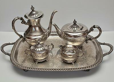 Viking Plate EP Brass Coffee and Tea Service Set 5 Piece Tea Set