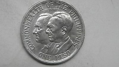 1936 Philippines 1 Peso Roosevelt Quezon Silver coin