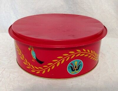 LID is a TRAY Large Vintage Red COOKIE TIN CAN Dutch Designs - Bachman Bakeries
