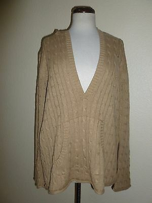 NWT Old nAVY cABLE kNIT hOODED mATERNITY sWEATER bEIGE pULLOVER cOTTON Blend L