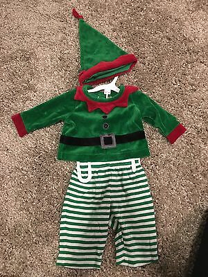 0-3 months Boys infant newborn Christmas Elf Outfit 3 piece pants, hat and shirt