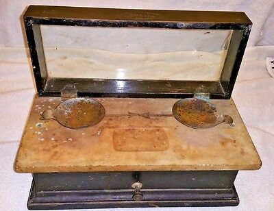 Henry Troemner No. 12 Apothecary Balance Scale.pharmacy Oak Marble.antique