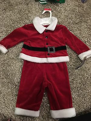 3-6 months Girls Boys Christmas Santa Outfit 2 piece pants and shirt