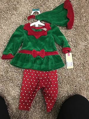 0-3 months Girls Christmas Elf Outfit 3 piece pants, hat and shirt