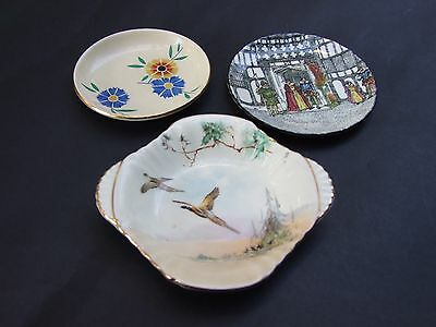 Royal Doulton 3x Pin Dishes-Plates -Antique  Bird-Floral-King & Queen C.1930's