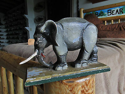 Vintage 1920S Wood Carved And Painted Folk Art Elephant