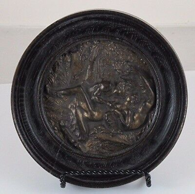 Two Satyrs and a Nymph Erotic Brass/Bronze Plaque  JZ-0676