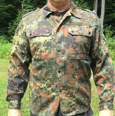 German Flecktarn Camouflage Camo BDU Shirt Light Jacket X Large Hunting C86
