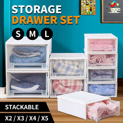 White Wide Cart Stacking Storage Bin Box Clothes Organizer Set Rack Drawers NEW