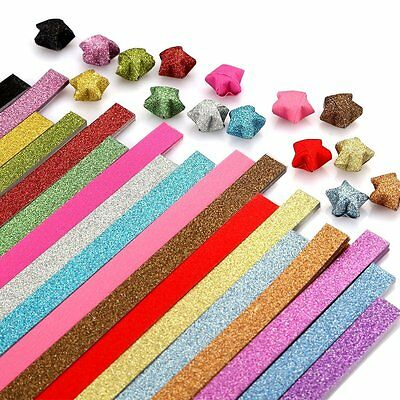16 Colors 250 Sheets Origami Paper Stars Glitter Folding Lucky star Strips EB5