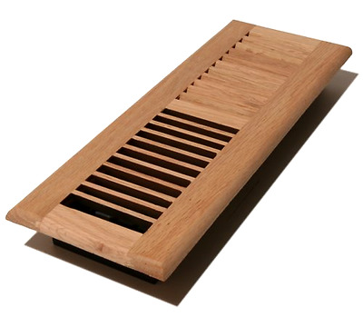 Wood Louver Floor Register with Non Metallic Damper Controls Airflow 4x12 Inches