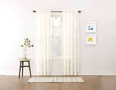 Floral Lace Sheer Rod Pocket Curtain Panel 58 x 84 Inch Ivory White Window Decor