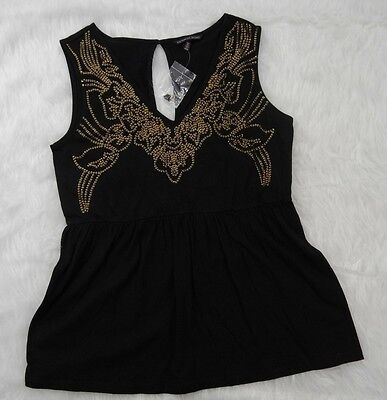 Victoria's Secret womens size M black with gold sequins peplum sleeveless top