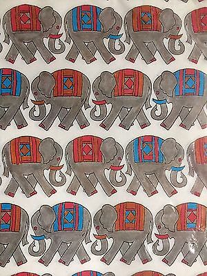 Vintage Indian Elephants Gift Wrap Paper West Germany NOS Sealed 2 sheets Canada