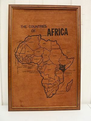 "VTG Hand Drawn Framed ""Map of AFRICA""  On Hide Like Material"
