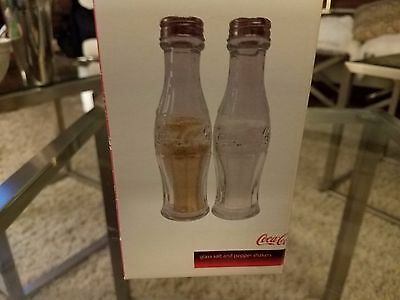 Coca-Cola Glass Salt and Pepper Shakers New