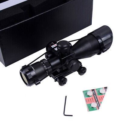 2.5-10x40 Tactical Rifle Scope Red Green Mil-dot illuminated w/ Red Laser Mount