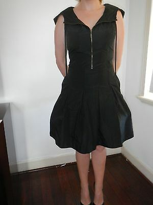Cue brand black dress size 10 with hood and front zip