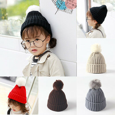 Infant Toddler Kid Baby Winter Warm Hat Knit Pom Cap Set Boys Knitted