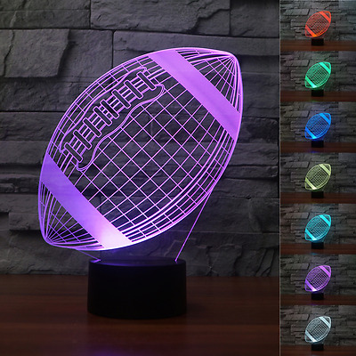 3D American Rugby football Visual Night Light 7 Color Change LED Table Lamp Toy