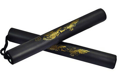1pc Foam Interior Martial Art Black Nunchucks Dragon Patern Nunchaku 27cm