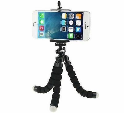 Black Octopus Tripod Stand For Digital Camera + Holder For Mobile Phone iPhone