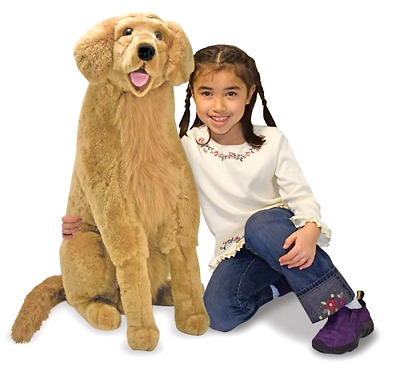 Plush Toy Lifelike Golden Retriever in Soft Polyester Fabric 36 x 12 x 31 Inches