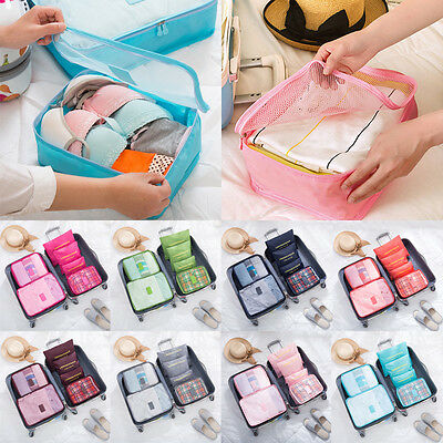 6PCS Travel Clothes Storage Bags Suitcase Luggage Organizer Clothes Underwear